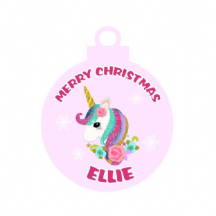 Glitter Unicorn Acrylic Christmas Ornament Decoration